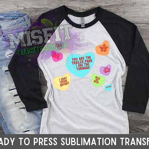 Candy Hearts - Yellowstone - Sublimation Transfer