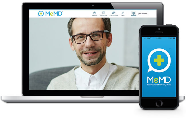 MeMD Laptop and Phone with Therapist