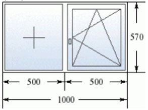 Двухстворчатое окно 1000 на 570