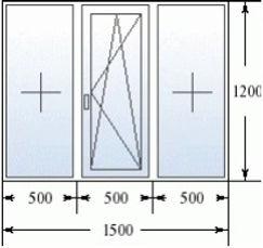 Трехстворчатое окно 1500 на 1200