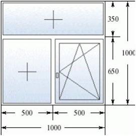 Окно с фрамугой 1000 на 1000