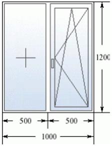 Двухстворчатое окно 1000 на 1200