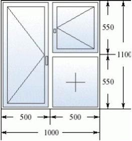 Эскиз окна с форточкой 1000 на 1100
