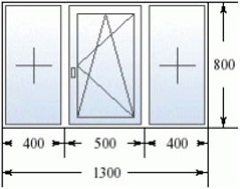 Трехстворчатое окно 1300 на 800
