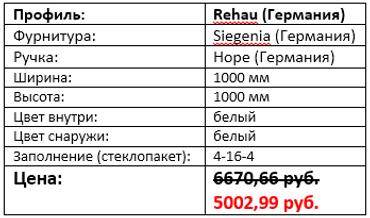 Стоимость окна с фрамугой 1000 на 1000