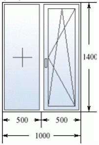 Двухстворчатое окно 1000 на 1400