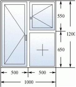 Окно с форточкой 1000 на 1200