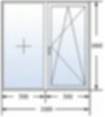 Двухстворчатое окно 1000 на 1000