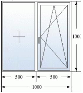 Эскиз двухстворчатого окна 1000 на 1000