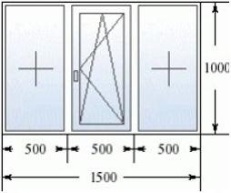 Трехстворчатое окно 1500 на 1000