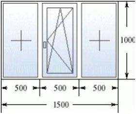 Эскиз трехстворчатого окна 1500 на 1000