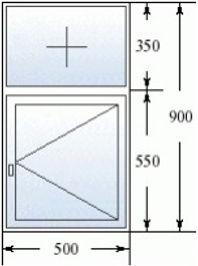 Окно с фрамугой 500 на 900