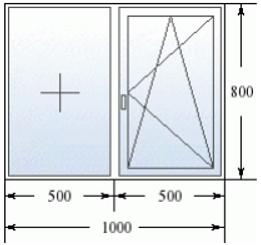 Двухстворчатое окно 1000 на 800