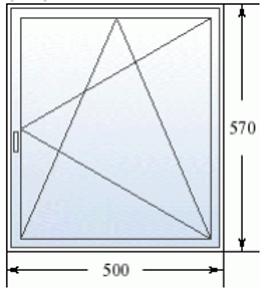 Эскиз одностворчатого окна 500 на 570