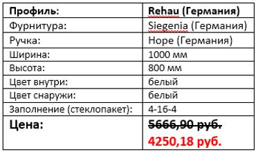 Стоимость двухстворчатого окна 1000 на 800