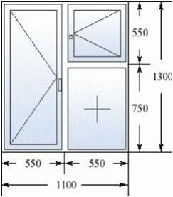 Окно с форточкой 1100 на 1300