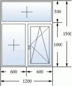 Окно с фрамугой 1200 на 1500