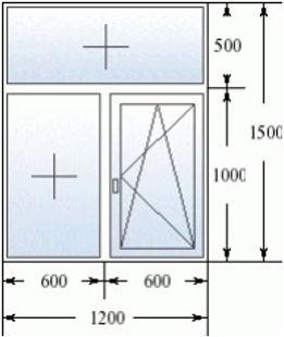 Эскиз окна 1200 на 1500 с фрамугой
