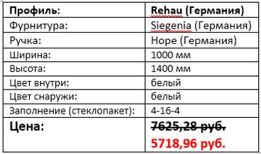 Стоимость двухстворчатого окна 1000 на 1400