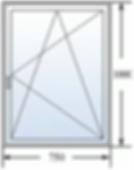 Одностворчатое окно 750 на 1000
