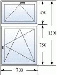 Окно с фрамугой 700 на 1200