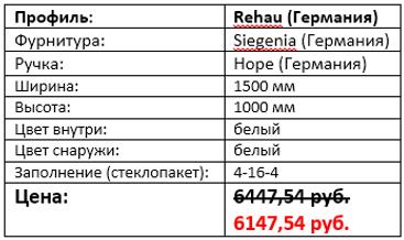 Стоимость трехстворчатого окна 1500 на 1000