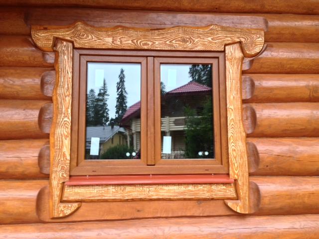 SHtul'povoe okno s laminaciej Zolotoj dub
