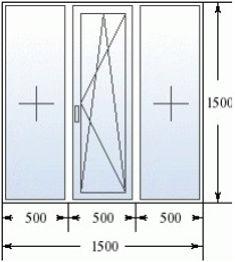 Трехстворчатое окно 1500 на 1500