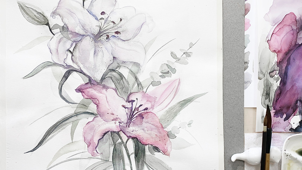 Watercolor Lily Flowers | Painting Technique Video