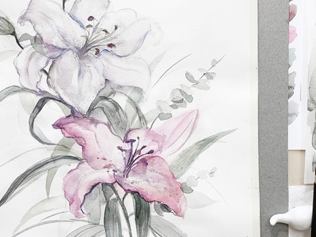 Lily Flowers | Watercolor Painting