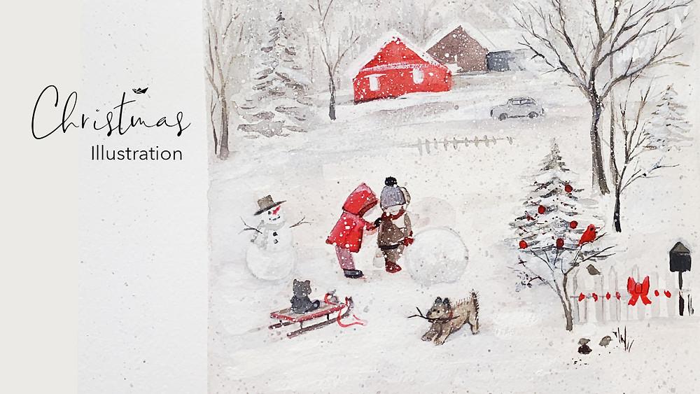 Wintery Illustration Christmas time