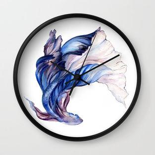 Betta Fish Illustration Wall-Clock