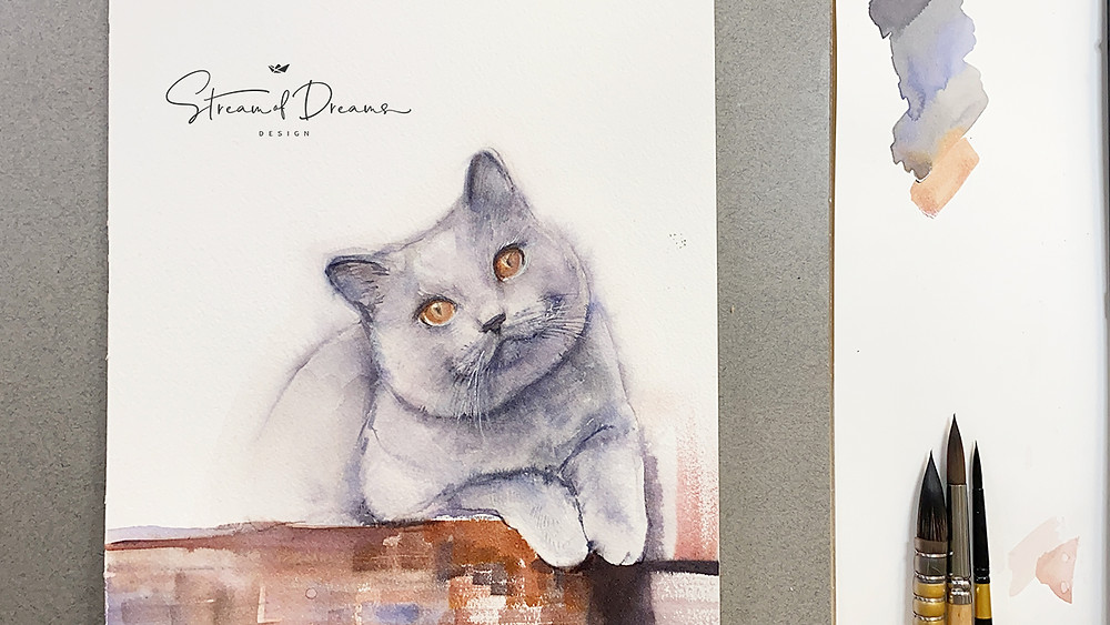 Watercolor Painting Demo of a British Cat