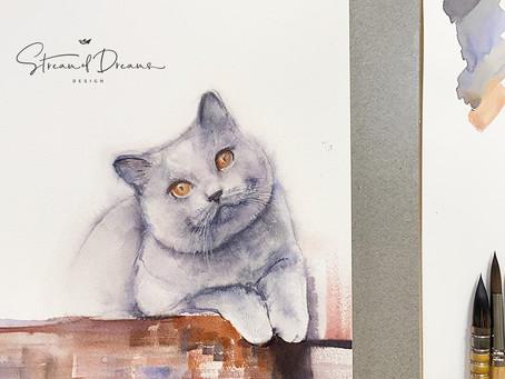 British Cat Watercolor Painting Demo