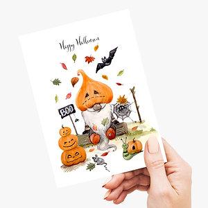 Pumpkin Gnome Halloween Post Cards