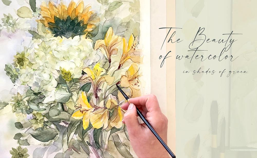 Watercolor Painting - Flower Bouquet