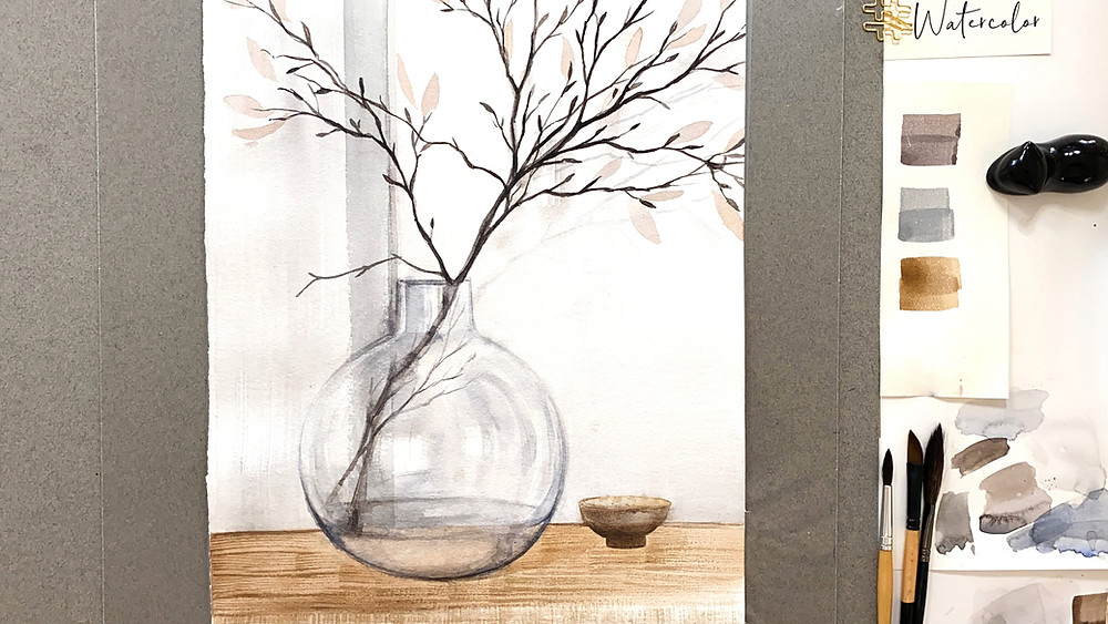 Still Life with a round glass vase and dry branches