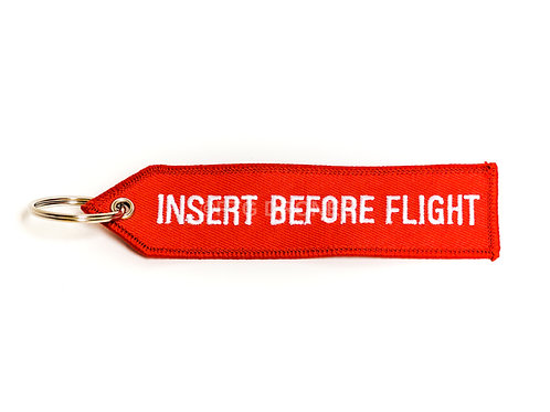 INSERT BEFORE FLIGHT Double Sided Red Embroided Keychain Tag 1 PC