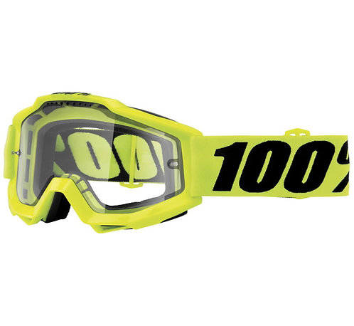 100% Accuri Enduro Goggles; Fluorescent Yellow w/Clear Dual Lens