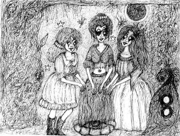 Three Sisters- pencil drawing