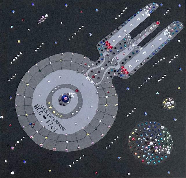 Enterprise, Star Trek- canvas paper artwork, new age art