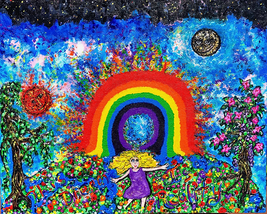 Escape in reality with flavor and spin- acrylic painting on wood canvas, new age art