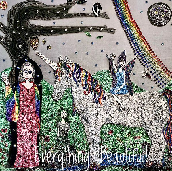 Everything Beautiful- canvas paper artword, new age art