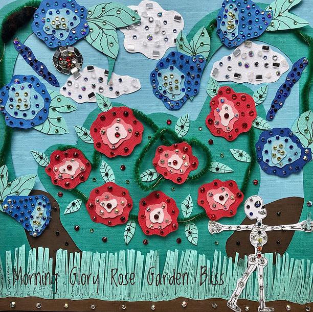 Morning Glory Rose Garden Bliss- canvas paper artwork, new age art