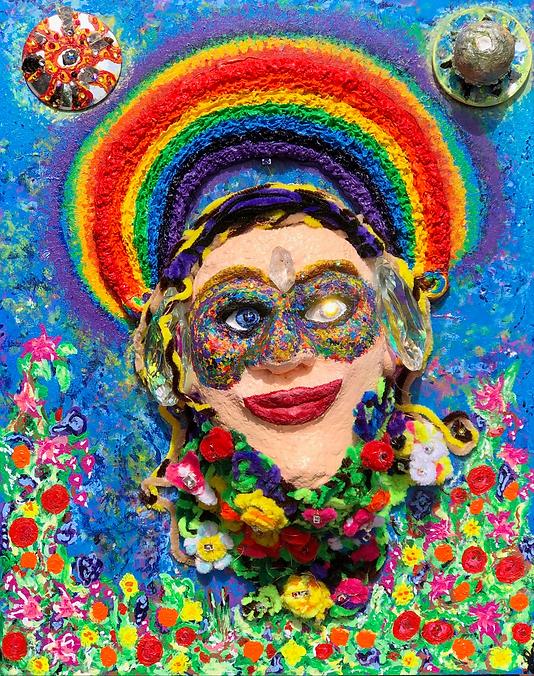 Rainbow artwork; Mask of Me- acrylc painting on wood canvas, new age art