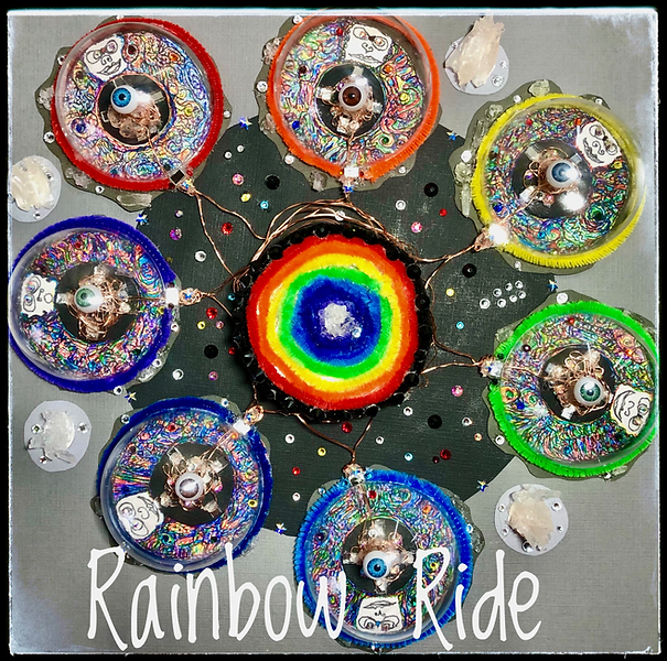 Rainbow RIde: Canvas paper artwork, new age art