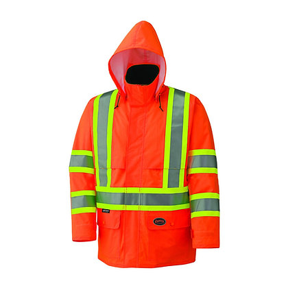 Hi-Vis 150D Lightweight Waterproof Safety Jacket with Detachable Hood