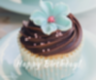Birthday Cupcake teal flowe