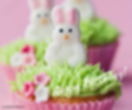 Happy Birthday cupcakes with easter bunny