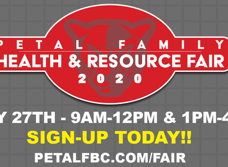 Petal Family Health & Resource Fair will be held July 27th at Petal First Baptist Church.
